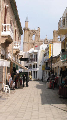 A street in Famagusta, North Cyprus. Lala Mustafa Pasa Mosque in the backgroung