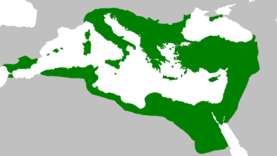 The Byzantine Empire at its greatest extent