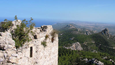 View towards karpaz from Kantara castle, near Iskele, North Cyprus