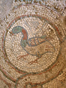 A bird mosaic at Soli, near Lefke, North Cyprus