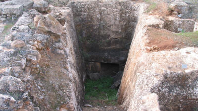 An entrance dromos at the Cellarka necropolis, near Salamis, Famagusta, North Cyprus.